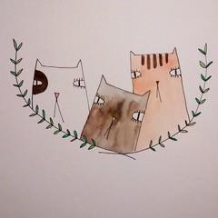Three little kitten. (ceciliasantanach) Tags: art illustration watercolor kitten gallery creative doodle illustrator dibujo ilustracion illustracio