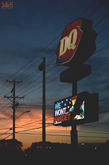 127/365 (yosoyjav!) Tags: sunset sky usa sun colors sign clouds digital restaurant nikon midwest eagle fastfood screen iowa powerlines cables poles 365 dslr dairyqueen dq cedarrapids easterniowa project365 d7000 wewontforget clubd7000