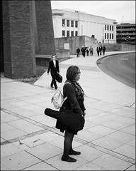 Before the Concert (Stephen A. Wolfe) Tags: columbus ohio blackandwhite streetphotography theohiostateuniversity niksilverefexpro2 fujix100t adobelightroomcc