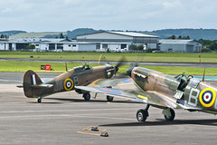 BBMF's Spitfire MkIIa P7350 and Hurricane MkIIc LF363 at Gloucestershire (Staverton) Airport over RIAT 2016 weekend (ST-251) Tags: world 2 up start plane flying airport memorial war britain aircraft aviation hurricane flight ground battle off gloucestershire crew pre gloucester merlin ww2 take spitfire mk warbird raf staging airfield staverton riat 2016 bbmf iia p7350