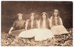 Vintage Photo Postcard circa 1905 : McDonald & Highfill Girls (CHAIN12) Tags: vintage photo scanned scan longhair portrait beauty girl younglady 4 girls group sitting qultd4190418rppcmcdonaldhighfillgirls highfill mcdonald family sarah pearl rachel ruth ruthie rose rosa