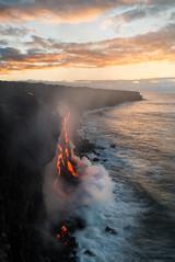 The Lava Hit the Ocean! (Raiatea Arcuri) Tags: 61g lava flow kalapana volcano volcanoesnationalpark river seascape sunrise hawaii bigisland steam plume kilauea