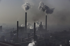 Steel Cities in China's Hebei Province (placetobcop21) Tags: airpollution asia chimneys china climatecampaigntitle copyspace day dirty factories hebei highangleview industrialbuildings industriallandscapes kwcigpi outdoors smog smoke steel steelmakingindustry toxicscampaigntitle chn