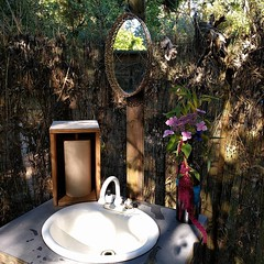 #outdoor #bathroom #sink #mirror #freshflowers #BullocksPermacultureHomestead (Heath & the B.L.T. boys) Tags: instagram farm permaculture sink mirror flowers fence