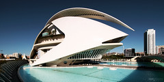 Palau de les Arts Reina Sofa, Ciudad de las Artes y las Ciencias - Valncia, Spain (Andrea Moscato) Tags: andreamoscato europe espana water acqua pool architecture architettura arco architect arte art architetto architectural view vista vivid blue white shadow light day santiago calatrava valencian valenciana cielo city citt complex