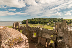 Laugharne Castle (Keith in Exeter) Tags: laugharne castle carmarthenshire wales ruins battlements fort fortress landscape estuary river woodland saltmarsh sky building architecture ancient relic