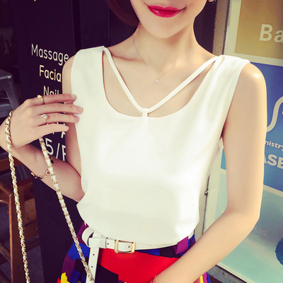 Summer 2016 white plus size Camisole women short shirts put small vest wearing chiffon