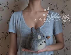 A girl and a spirit of the woods (Gretchen Dolls) Tags: needlefelt felted felt totoro feltedtotoro feltedanimal handmade