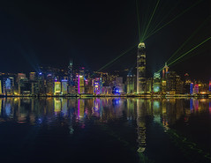 Hong Kong harbour lasershow (merbert2012) Tags: hongkong harbour china reflection fun travel longexposure nightphotography nikon nikond800 photoshop cityscape city lasershow laser lights digitalmanipulation