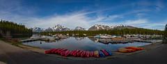 Colter Bay Panoramic (Plain Adventure) Tags: lake mountains boats grandtetonnationalpark