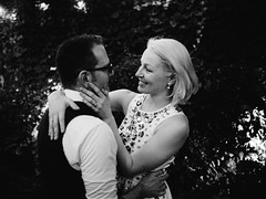 Liza and Corbett (BurlapZack) Tags: wedding bw love monochrome mono groom bride dance lowlight hug couple availablelight husband romance wife handheld embrace dallastx pack06 hotelstgermain vscofilm olympusomdem5 olympusmzuiko17mmf18