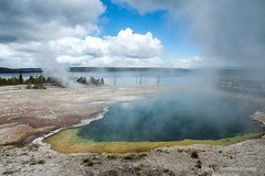 Thermal Features - West Thumb Area of Yellowstone Nat'l Park (frank thompson photos) Tags: wy wyoming yellowstonenationalpark unitedstates westthumbarea yellowstonelake thermalfeatures hotsprings sky clouds nikon d70