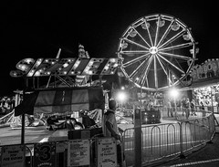 The Black and White Collection wave #1 (Nowkp) Tags: ontario oakville blackandwhite old lights creepy rollercoasters carnival outside 1