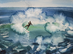 surfing#1 (Olga Flerova) Tags: wave water ocean sport surfing surf watercolor drawing