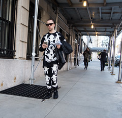 If Bill Cunningham Was Still With Us, (UrbanphotoZ) Tags: man blackandwhite matching shirt pants western motif cattle skull shades smartphone boots parkave eastside manhattan newyorkcity newyork nyc ny