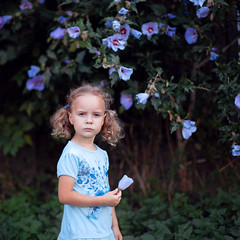 Blue (mravcolev) Tags: portrait naturallight child girl flowers summer square serious canoneos5dmarkii 5dmkii 50mm canonef50mmf14usm