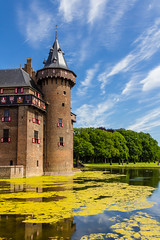 De Haar Castle (rawyvandenbeucken) Tags: 2012 haarzuilens kasteeldehaar nederland utrecht june thenetherlands castle dehaarcastle brick roof moat water sky cloud grass garden tower tree window pond blue green red white brown vanzuylen
