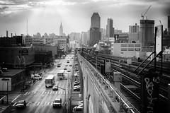 Queens (Rafakoy) Tags: train subway queens newyork city avenue queensblv boulevard queensboulevard sunyside skyline cityscape manhattan ny nyc urban grain vintage cars street canon architecture black white bw