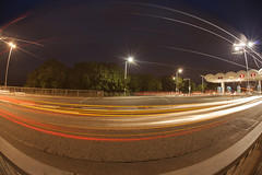 Traffic trails with a fisheye (Obscure Jude) Tags: club16 traffictrails