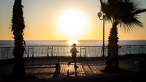 Running at sunrise - Malta - Color street photography