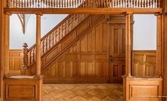 Brooklyn Rutland Road Victorian partition (techpro12) Tags: newyork prospectleffertsgardens brownstone building old historic room interior victorian woodwork ornate livingroom baywindows stairs stairway banister foyer partition wainscoting