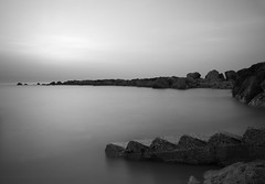 After Sunset (Wilf41/Maggie) Tags: mono bw black white le long exposure twighlight sea ocean cyprus