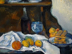 CEZANNE,1877-79 - Le Buffet - Still Life, The Buffet (Budapest) - Detail -b (L'art au prsent) Tags: art painter details dtail dtails detalles painting paintings peinture peintures 19th 19e peinture19e 19thcenturypaintings 19thcentury detailsofpainting detailsofpaintings tableaux paulczanne paulcezanne cezanne czanne stilllife naturemorte budapest hongrie hungary citrons citron lemon lemons orange oranges nappe nappeblanche whitecloth chiffon cloth bleu blue tasse cup sucrier sugarbowl buffet knife fruit food pomme apple apples glass verre dessert biscuits