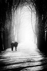 the long walk (philippdase) Tags: blackandwhite oldercouple manandwoman thelongwalk roadoflife