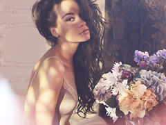 Pretty woman with flowers (George Mayer) Tags: morning flowers summer portrait woman sunlight home floral girl beautiful beauty fashion lady female hair happy spring healthy perfume looking natural blossom body feminine pastel interior gorgeous decoration young lifestyle fresh sensual enjoy fragrant bunch romantic rest bouquet feeling brunette lovely elegant decor aromatic pure refreshing tenderness pleasant freshness fragrance