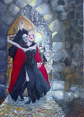 2016.012.3O_BLOODY MARY (jaimsart) Tags: bloody mary vampire castle original art oil painting jaims saatchi available staircase mask gin black gothic butler lights stone cobblestones red hair dress