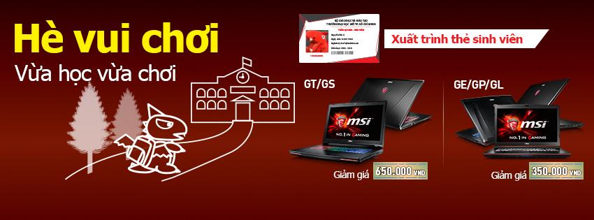 Có thẻ học sinh, sinh viên tặng ngay 650K khi mua laptop MSI