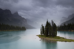 Spirit in the rain (andrewpmorse) Tags: trees wild cloud lake canada mountains water rain clouds canon landscape outdoors island jasper spirit alberta wilderness canadaday jaspernationalpark malignelake 6d spiritisland leefilters lee09ndgradhard