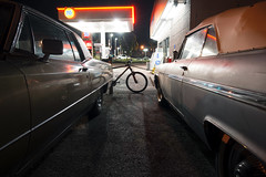 76 (Curtis Gregory Perry) Tags: oregoncity cadillac buick classic car night longexposure eldorado wildcat convertible nikon d800e automobile parking lot bike bicycle 1968 1963 1964 gm 76 gas station fuel
