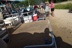 On the Beach at the State Park Pontoon Boating on Otsego Lake Gaylord Michigan (RBD111) Tags: on beach state park pontoon boating otsego lake gaylord michigan premier 315 102 beam twin 200 horse power etec outboard engines triple tube ptx large big long wide