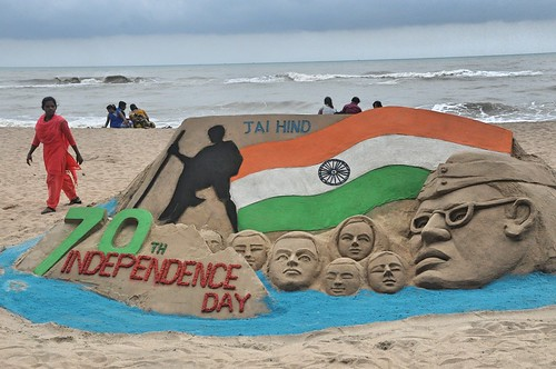 70th Independence Day Sand Art at Puri Beach by Manas Kumar Sahoo