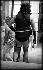 Merseyrail passenger (* RICHARD M (Over 5.5 million views)) Tags: street candid mono blackwhite liverpoolpride moorfieldsstationliverpool merseyrailpassenger railtraveller trainpassenger trainstations railwaystations merseytravel knickers briefs suspenders wig tattoos crossdresser crossdressing blackmeshstockings fishnetstockings fishnets merseyrail lol ott wtf liverpool merseyside europeancapitalofculture capitalofculture weird weirdo transvestite railpassenger thunderthighs burly burlybloke burlyguy burlyman burlyfigure incongruous incongruity doubletake surprisesurprise legs legshow leggy cheeky bumshots cheekychappy elbowgloves blackknickers blackbriefs blackvest thedecisivemoment raunchy provocative camp minorities