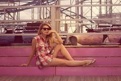 Trasher (Kristen Palatella) Tags: girl model pretty beauty beautiful wind beach boardwalk nj newjersey pointpleasant ride rides fair pink blue sunglasses raybans blonde windy plaid