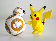 BB8 and Pikachu (jezbags) Tags: bb8 pikachu sphero canon60d canon 60d macro macrophotography macrodreams star starwars wars droid pokemon yellow white orange