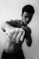 Fist (Mike Brönnimann) Tags: white man black asian fight nikon dynamic body chinese fist angry topless kung fu boxing d800 sb910