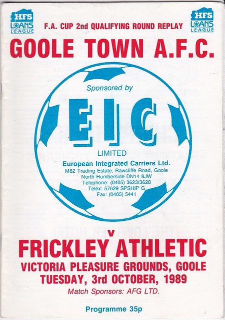 Goole Town V Frickley Athletic 3/10/89 (FA Cup 2nd Qualifying)