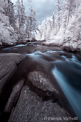 Rushing River (burntpixel.ca) Tags: blue trees summer brown white ontario canada black tree art nature water beautiful rock vertical horizontal rural forest canon river spectacular landscape grey photo rocks stream fine gray patrick photograph infrared xs rushingriver rushing mcneill canonxs wrench777
