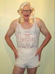 A hot blonde! (donnacd) Tags: white hot tv dress legs cd bra cream tights crossdressing dressing tgirl nails sissy tranny heels shorts crossdresser crossdress ts feminization domin travesti feminized xdresser transgenre tgurl