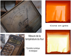 La mesure de la temprature d'un four  cuisson cramique.  /  Measuring the temperature of a ceramic pottery oven. (Pentax_clic) Tags: sculpture ceramic quebec cone mai ceramique sculptur 2015 potterie boisfranc robertwarren raymondwarren imgp7212mix