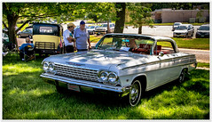 Chevrolet Impala 1963 at Meriden Classic Car Show. (Pentax K-x Connecticut Man) Tags: 100iso automobile beautiful car carshow chevrolet chrome classiccarshow connecticut dslr event flickr green grille iso100 impala justpentax kitlens lightroom571 macro meridenct paddockavenue pentax pentaxart pentaxkx photoshop rare shine smcpentaxda1855mmf3556al summer sunnyday sunshine topaz topazeffects tripod usa windows10 filter 160sec 1960s grass f71