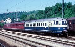 456 106 + 403  Neckarelz  24.05.86 (w. + h. brutzer) Tags: analog train germany deutschland nikon eisenbahn railway zug trains db 456 eisenbahnen triebwagen triebzug neckarelz et56 triebzge webru