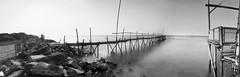 Eerie (erikjnainggolan) Tags: seascape sea beach bamboo bridge eerie scary ocean long exposure black white bw n tanjung kait indonesia olympus omd panorama panoramic