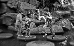 Children at Play (Anne Worner) Tags: street blackandwhite bw playing water fountain norway lensbaby children fun mono jumping rocks candid streetphotography climbing steppingstones bergen multicultural olebullsplass selectivefocuslens manualfocuslens sweet35 anneworner olebullfountain