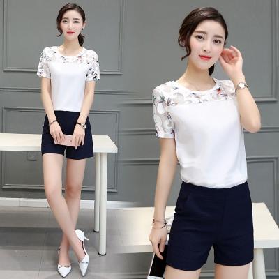 Sommer Stile Damen plus Größe koreanische Version gedruckt chiffon Shirt Joker einfachste Spitze Pullover Kurzarm Frauen schneiden Jacke