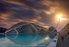 City of Arts and Sciences (Valencia) (Fernando Hueso Photography) Tags: city sun lake reflection building art valencia clouds sunrise lago spain long exposure cityscape time fine arts nubes nd tomorrowland sciences valenciana ciutat tiempo hemisferic fherstudio