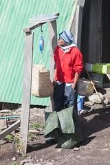 Weighing the Rubbish - 18th December 2015 (princetontiger) Tags: mountain snow cold kilimanjaro rain clouds tanzania garbage mountkilimanjaro scales rubbish mountainside porter weight kili weighing
